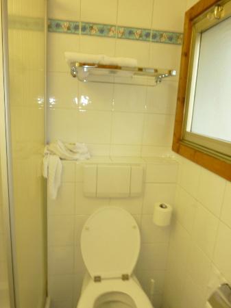 Chalet hotel La Marmotte : Porte serviette au dessus des toilettes