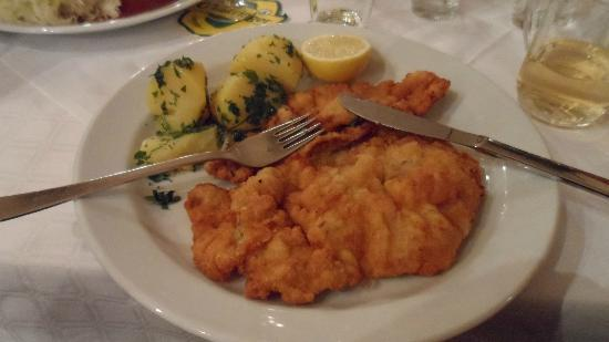 Gasthaus Rebhuhn: Pork Vienns Schnitzel with Boiled Potato and Chives