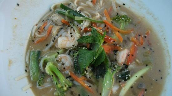 Thai Express: King prawn soup with noodles, mint and coconut milk