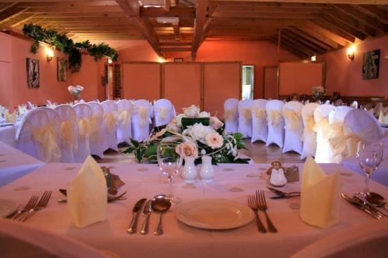 The Mill Forge: The roundhouse..we decorated with chaircovers, gingerbread men favours and vintage peach roses