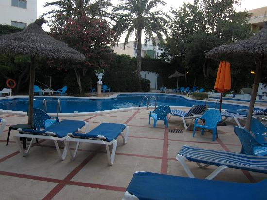 Maricel Apartments: Pool area evening time