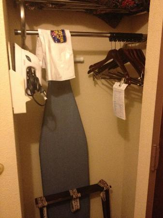 BEST WESTERN Greenwood: the closet with ironing board and iron - not many hangers
