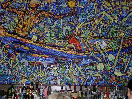 The St. Regis Bahia Beach Resort, Puerto Rico: Mural behind bar