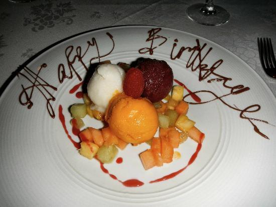 """Il Palio: Trio di Sorbetti  (fresh fruit sorbets), with chocolate """"Happy Birthday"""""""