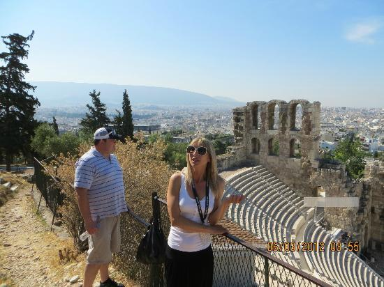Private Greece Tours: Our tour guide, Eleni, teaching us about Odeon of Herodes Atticus.