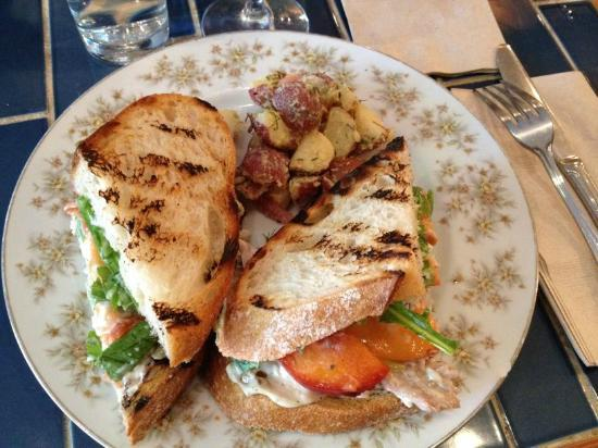 Local Mission Eatery: Chicken salad sandwich with peach slices, potato salad