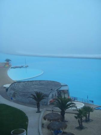 San Alfonso del Mar: View from our deck of pool, ocean and cafe