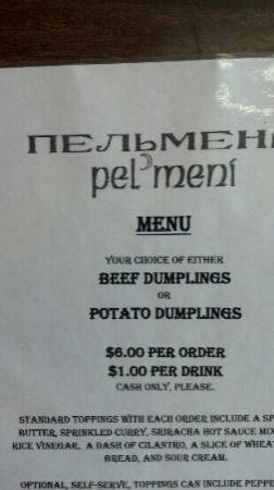 Pel Meni's: menu