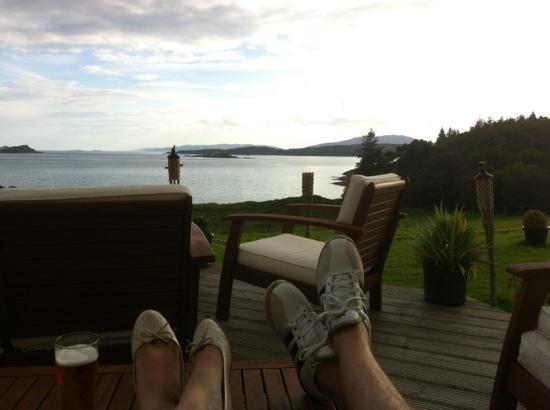Chartroom II Bistro: enjoying the sun at loch melfort, bliss!