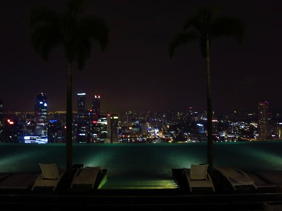 Infinity pool view at night Picture of Marina Bay Sands