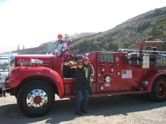 San Francisco Fire Engine Tours & Adventures : There is a great view of the Golden Gate Bridge from here!