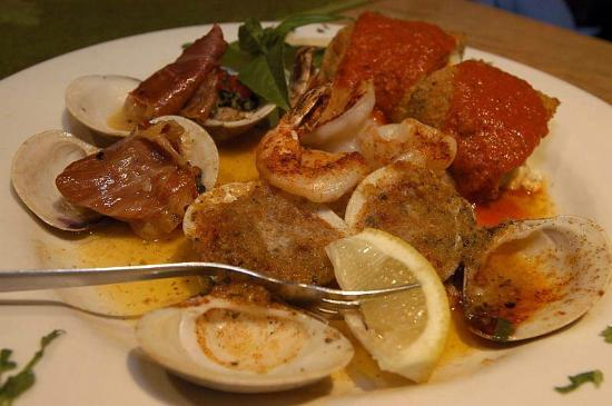 Old Marco Pub & Restaurant: Hot Antipasto with Shrimp, Clams Oreganato & Casino, Eggplant Rolatini