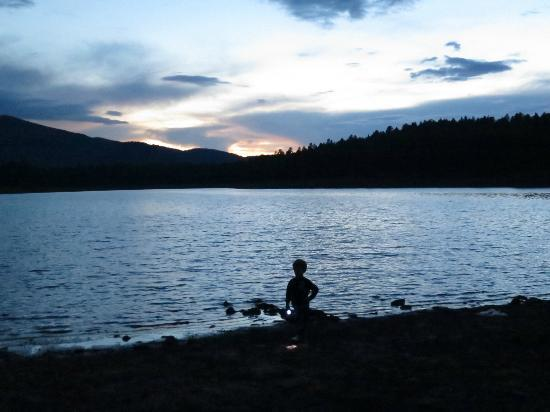 Dogtown Lake Campground: Dogtown Lake at dusk