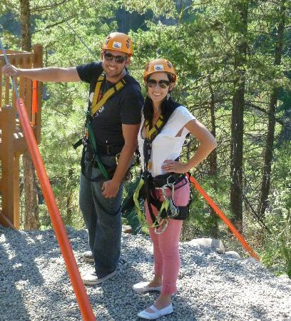ZipZone Peachland : Our kids preparing for their first zip.