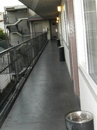 Presidio Inn & Suites: La vista del pasillo que va al elevador, tuvo mejores épocas!!!!