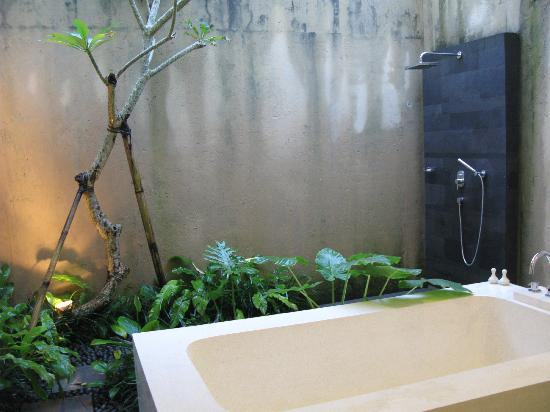 Bayad Ubud Bali Villa: Outdoor bathroom and rain shower