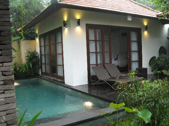 View of the one of the two bedrooms and private pool for Garden pool villa ubud