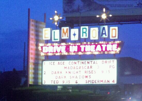 Elm Road Triple Drive In Sign
