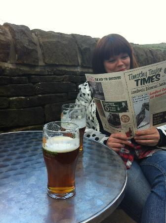 The Fleece Inn: TImothy Taylors while the brass band play