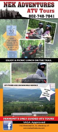 NEK Adventures ATV & Snowmobile Tours: Brochure front