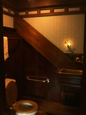 Howard Creek Ranch: I love this bathroom. Very slim shower, but the wood-work is nice