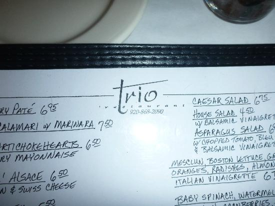 Trio: sample of menu