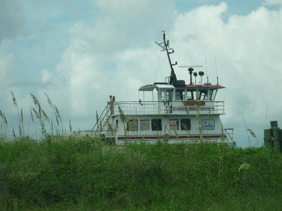 Ocracoke Campground: One of the vehicle ferries from Hatteras to Ocracoke