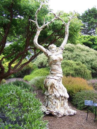 Mendocino Coast Botanical Gardens: multi colored clay sculpture
