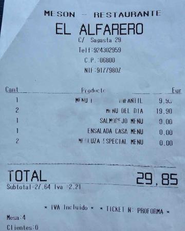 Restaurante El Alfarero : FACTURA DE LA COMIDA