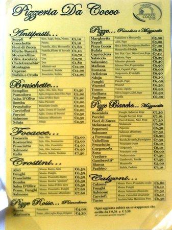 Da Cocco: Il menù di Cocco