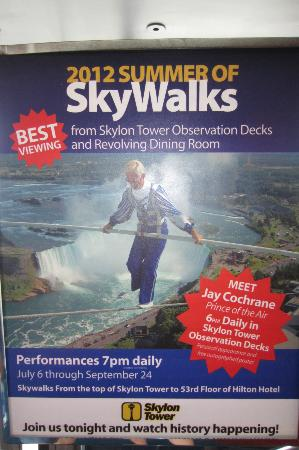 See Sight Tours of Niagara Falls- Day Tours: Sign in Skylon where skywalk begins each evening