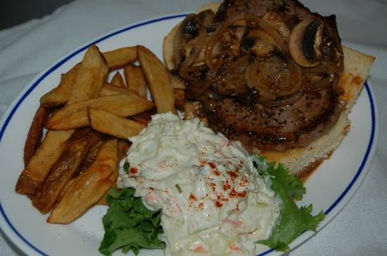 Grandma's Kitchen: Our hand cut 6 oz. open steak sandwich with either mushrooms & onions or crispy fried onion ring