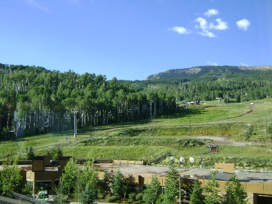 Viceroy Snowmass: view from room 707 (park garage and entry below)