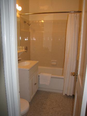 Astor Hotel: Small bathroom with door opening in on legs!