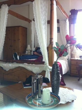 cosy room, luxurious four poster bed