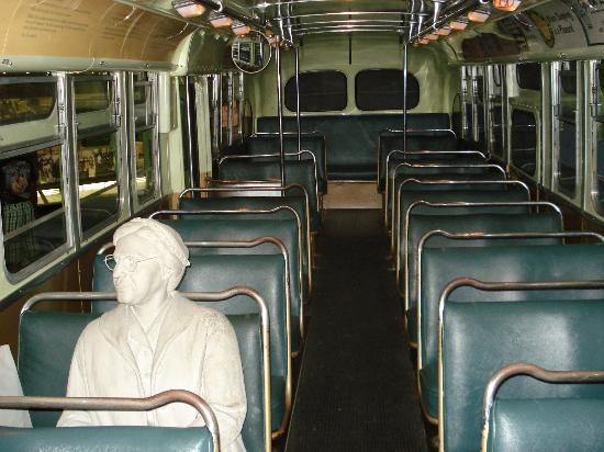 Memphis, TN: Statue of Rosa Parks Inside of the Bus at the Civil Rights Museum