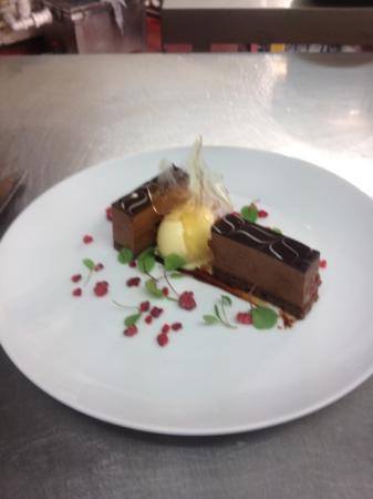 The Black Horse Inn: chocolate and raspberry torte raspberry cells and eucalyptus icecream !