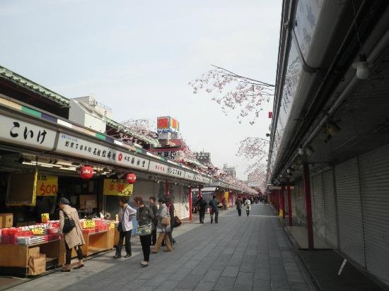 Nakamise Shopping Street (Kaminarimon): 仲見世(朝早い時間なので、まだ開いていない店も)