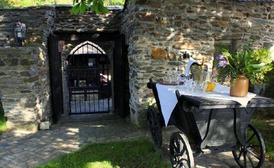 Hotel Burg Liebenstein: Sektempfang auf der Burgwiese mit Rheinblick