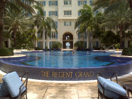 The Regent Grand: View of the pool and grounds from reception
