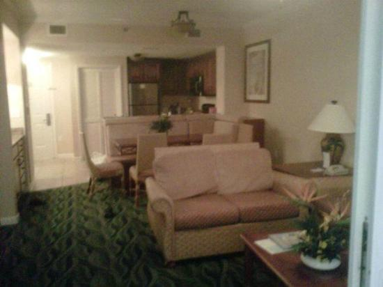 Westgate Myrtle Beach Oceanfront Resort: View of family room, dining area, and kitchen