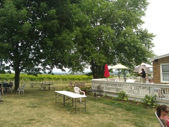 Iowa Wine Tours: Galena Cellars Vinyard - Yard/balcony next to the tasting room