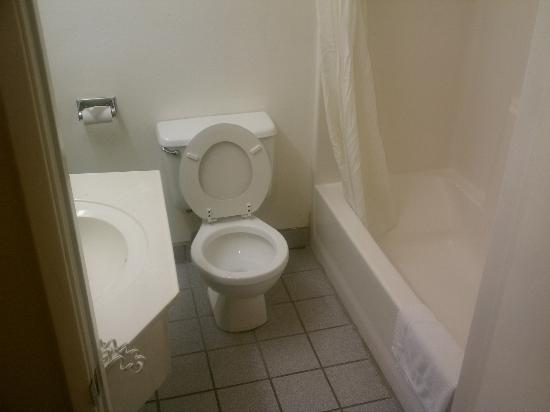 Super 8 Hollywood/LA Area: Bathroom (it smelled horrible when we checked in)