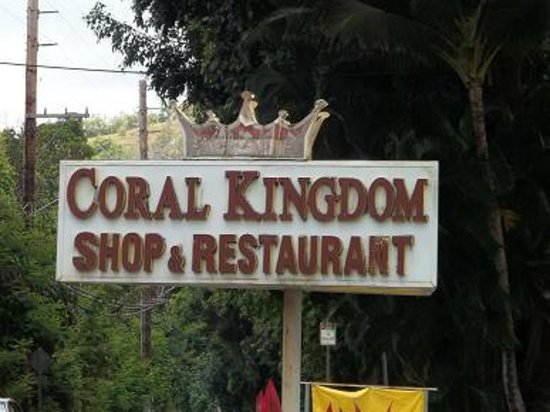 Coral Kingdom Restaurant: Street sign.