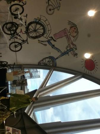 Bicycle Museum: drawings on the ceiling