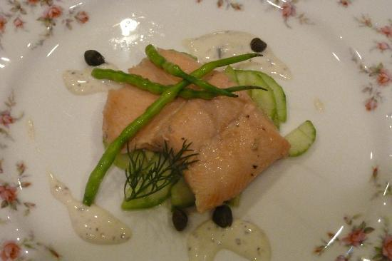 The Old Rectory: Poached trout with mustard and Creme Fraiche-'Rat tailed beans'