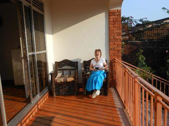 Adonai House: Mary on the terrace on our first morning