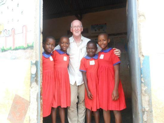 Adonai House: Mike with girls from Chosen Children's Centre in Nansana