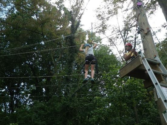 Terrapin Adventures : Crossing the wire to get to the zip-line.