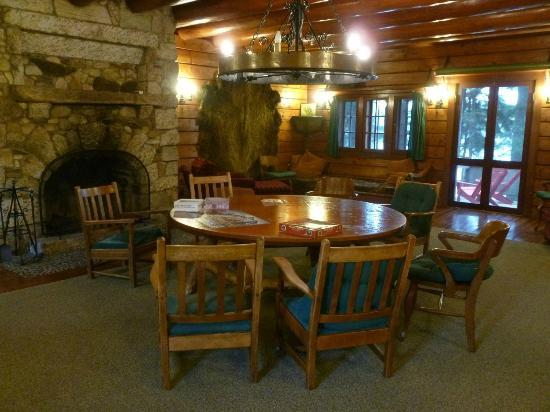 "Great Camp Sagamore: Communal ""living room"" on lower level of the Main Lodge"